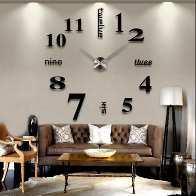 3D Acrylic Wall Clock Mirror Sticker Watch Sticker Home Decor Unique Gift DIY UK