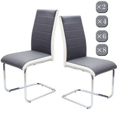 2/4/6/8 PCS Grey White Side Dining Chairs Leather Chrome Kitchen Room Furniture