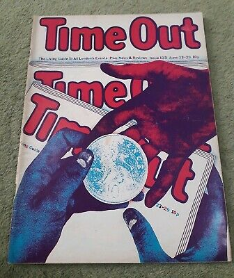 Rare Vintage Time Out Living Guide To London Magazine No.123 June 23-29 1972 VG
