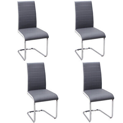4PC Faux Leather Upholstered Dining Chairs w/Chrome Legs Kitchen Room Furniture
