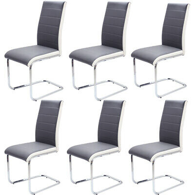 6PCS Faux Leather Dining Chairs Padded Seat With Chrome Legs Kitchen Dining Room