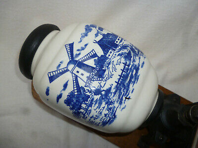 VINTAGE BLUE & WHITE DELFT PATTERN WALL MOUNTED COFFEE GRINDER - excellent cond.