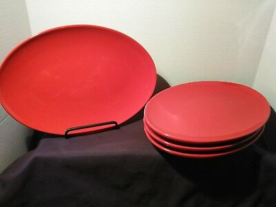 """Waechtersbach Set of 4 Red Oval Dinner Plates 10.5"""" Germany Stoneware"""