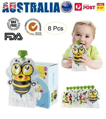 8Pcs 150ML Refillable Food Pouch Baby Feeding Squeeze Storage Sealed Zipper Bag