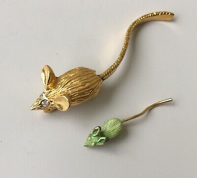 Adorable Vintage two Mouse Brooches In enamel on Gold Tone Metal