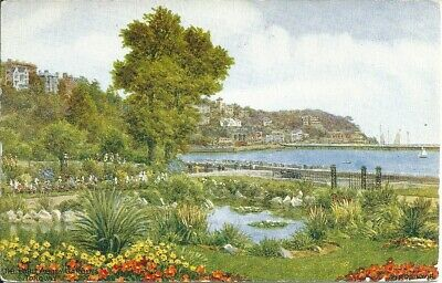 English Colour Postcard , The Pond Abbey Gardens , Torquay (CH)