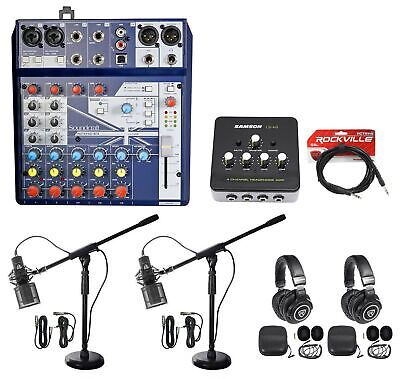 2) Person Podcasting Podcast Bundle w/Soundcraft Mixer+Headphones+Pro Mic+Stand
