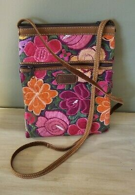 ef6016edc0b90 Guatemala Bright Colorful Floral Huipil Embroidered Purse Bag Crossbody  Leather