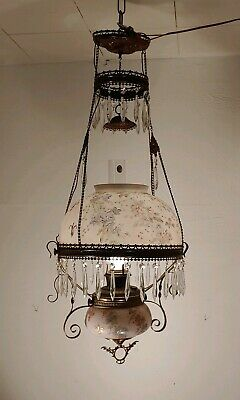 Antique Victorian Hanging Hand Painted Brass Parlor  Converted Oil Lamp