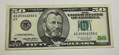 1996 $50 Fifty Dollar Federal Reserve Note U S Currency