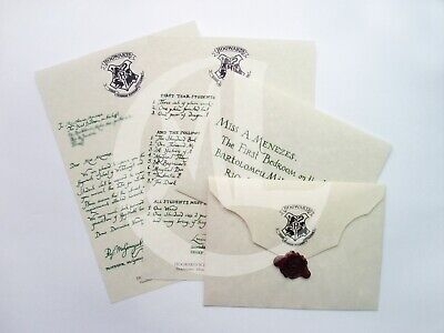 Harry Potter personalized Hogwarts Acceptance Letter prop replica