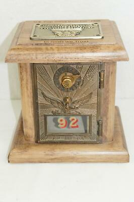U.s. Post Office Box Door Pat. 1906 Usps Mail Lockbox Wood Coin Bank Limited Ed