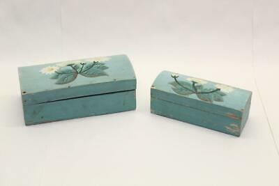 2 x Wooden Trinket Jewellery Boxes Hinged Lid Painted Floral Decor Shabby A4