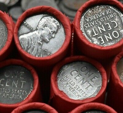 Wartime Steel Cent Lincoln Wheat Penny Roll Vintage Horde Estate Sale US Minted