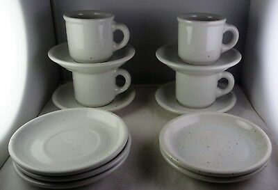 Four Trend Pacific Galaxy Milkstone White Cup & Saucer Sets - Brown Speckles ++