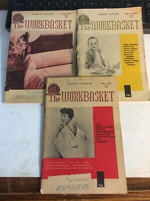 Lot of 3 Vintage Issues, May,June & March(1960 ) The WORKBASKET Magazine