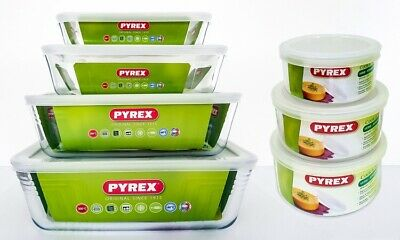 Pyrex Glass Food Container Bowl 14-Piece Storable Set Baking Freezing Microwave