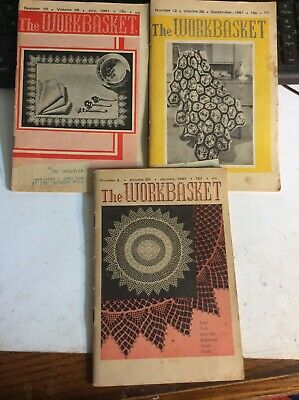 Lot of 3 Vintage Issues, January June & Sep 1961 ) The WORKBASKET Magazine