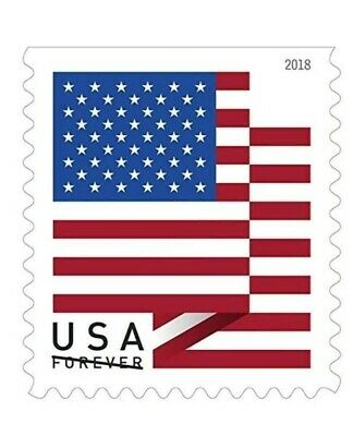 USPS Forever Stamps U.S. Flag Postage 1000 Units (10 Rolls of 100) 2018 Coil.