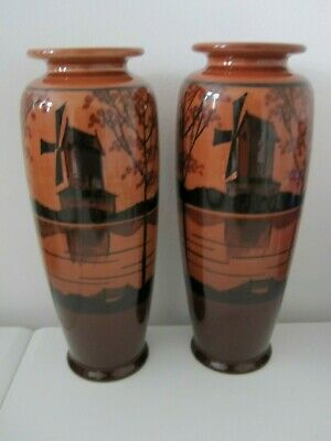 Stunning Pair Ault Pottery C.1890 Arts And Crafts Vases Windmill Design Dresser