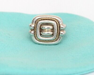 TIFFANY & CO. Sterling Silver 18kt Gold Square Cocktail Ring Band Sz 6.5