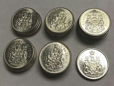Lot of (35) Canada Canadian Half Dollars 1960-1965 ~ 80% Silver ~ Higher Grade