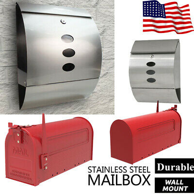 Large Mailbox Wall Mounted Post Secure Steel Newspaper Letterbox Home Durable