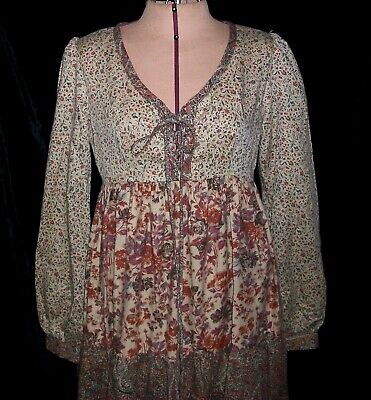 Vintage 60's Boho Hippy Cotton Floral Tiered Peasant Dress 7/8 Empire Waist S