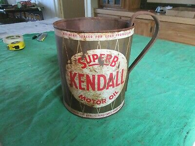 Vintage 1 Gallon Superb Kendall Oil Can with Home Made Handle   Lot 19-43-8