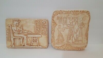 Rare Egyptian Antiquities Hand Carved Stone Queen Nefertari Prince Amen-Khopshef