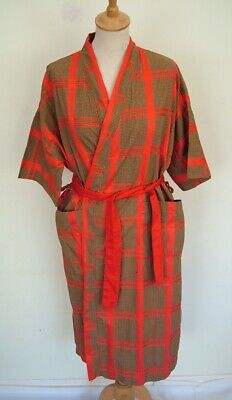 Vintage 50s brown red checked cotton unisex kimono dressing gown robe