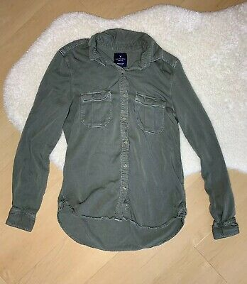 1adb09a1 AMERICAN EAGLE Women's Size XS Olive Green Boyfriend Fit Button Up Long  Sleeve