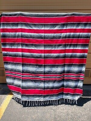 SARAPE XXL,5'X7', Mexican blanket, HOT ROD, Seat covers,MOTORCYCLE, RED & GRAY