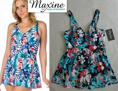 60d79abb262 NWT MAXINE of Hollywood Floral Print Empire Swimdress one-piece swimsuit  Size 14