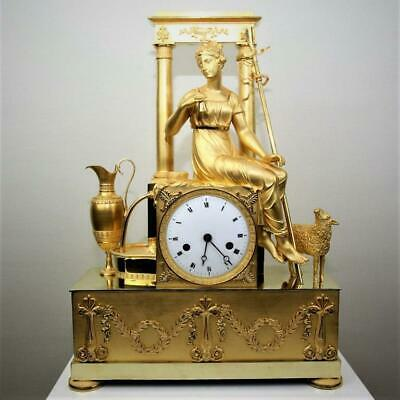 """Antique French mantel clock ormolu Empire gilt bronze """"Woman with small bell"""""""