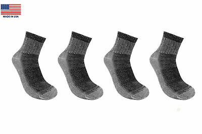 41767dd41976d 4 Pairs 71% Premium Merino Wool Quarter-Ankle Hiking Socks Made in USA Men