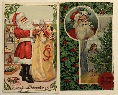 Nice~Lot of 2 SANTA CLAUS~ Vintage Antique CHRISTMAS Postcards-Holly-c540