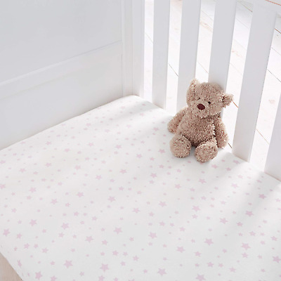 Silentnight Safe Nights Cot Bed Fitted Sheets Pack of 2 - Pink Star