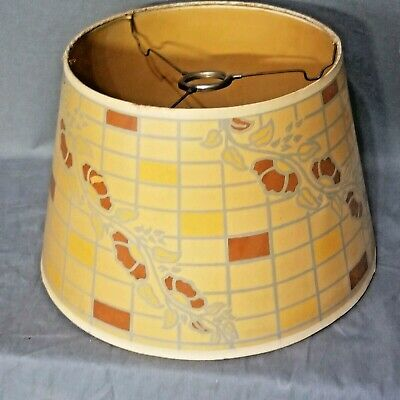 Vintage Antique Arts & Crafts Stylized Floral Pattern Paper Lamp Shade RARE