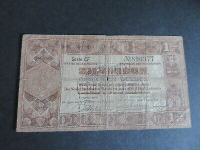 Netherlands 1 Zilverbon, Dated 01.10.1938 - ,Circulated