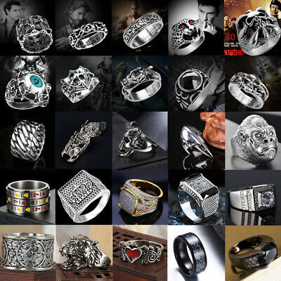 Men's Women Stainless Steel Silver Gothic Punk Rings Charm Finger Biker Ring Lot