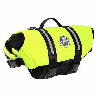 Paws Aboard Dog Pet Life Jacket Yellow Neon Neoprene Swimming Boating NEW w/Tags