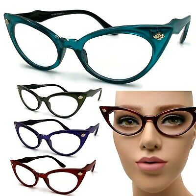 Clear Lens Cat Eye Vintage Style Ombre Glasses Eyeglasses 50s Retro Women 60s