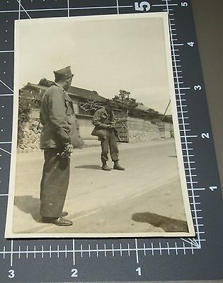 WWII Army Men Camera Photographer Military Soldier Vintage Snapshot PHOTO