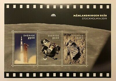 NEW 2019 Sweden Moon Landing Stockhomia mint souvenir sheet limited edition 5000