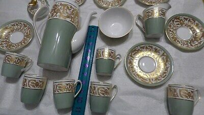 SPODE ENGLAND Vintage Gold White Green Hand Painted Bone China Tea Set Very Rare