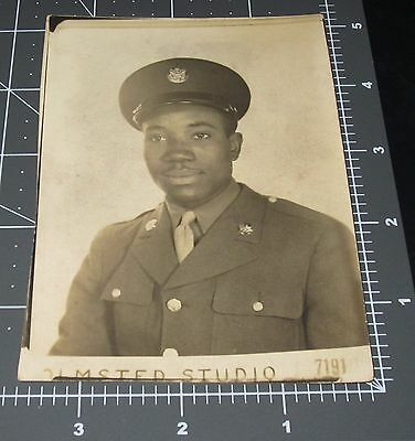 WWII Handsome BLACK Soldier Man Military Army Vintage Snapshot PHOTO