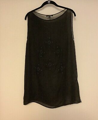 Silk Beaded Black Tank Top Tunic 6 NWOT Jet/Blue