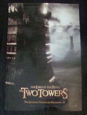 LORD OF THE RINGS TWO TOWERS movie poster PETER JACKSON ADVANCE Original DS One