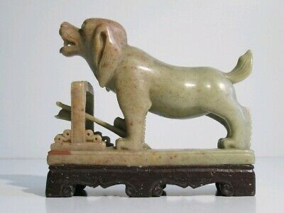 Vintage Sculpture Statue Dog Eastern in Stone Marble Art Chinese Xx Sec.